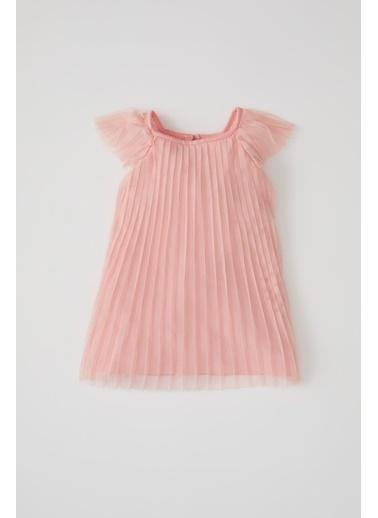 DeFacto Kız Bebek Kısa Kollu Piliseli Tül Elbise Pembe